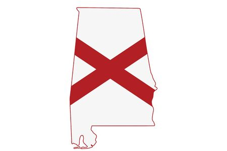 Map of Alabama in the Alabama flag colors isolated over white Banco de Imagens