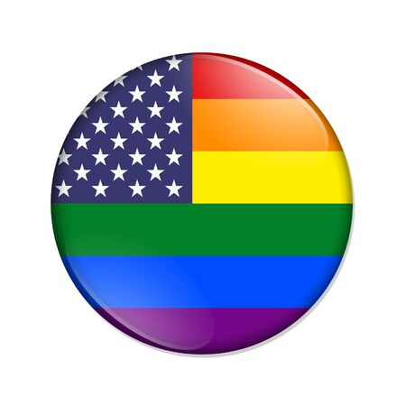 USA pride striped flag badge button rainbow color isolated over white