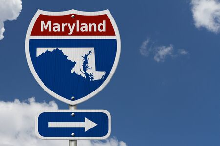 Road trip to Maryland, Red, white and blue interstate highway road sign with word Maryland and map of Maryland with sky background Reklamní fotografie