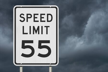 US 55 mph Speed Limit sign isolated with stormy sky background