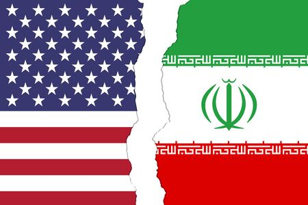 USA and Iran flags that are torn apart showing the bad relationship between the two countries Reklamní fotografie