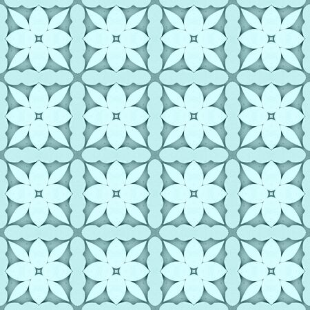 Pale teal flower mosaic detailed seamless and repeat textured pattern background Imagens