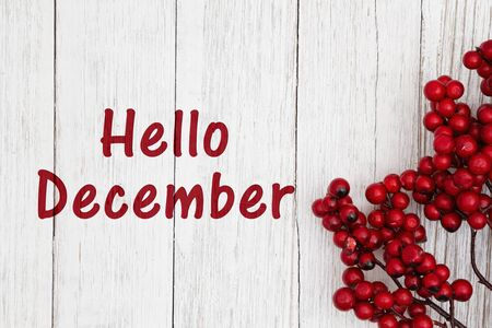 Hello December text with red berry branch on weathered whitewash textured wood
