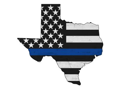 American thin blue line flag on map of Texas for your support of police officers isolated over white