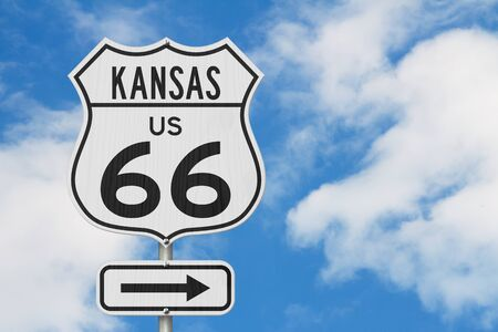 Kansas US route 66 road trip USA highway road sign sign with sky background
