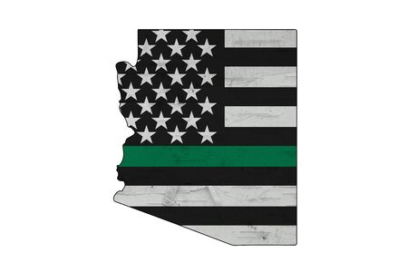 American thin green line flag on map of Arizona for your support of of border patrol and other federal agents isolated over white