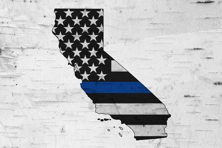 American thin blue line flag on map of California for your support of police officers Reklamní fotografie