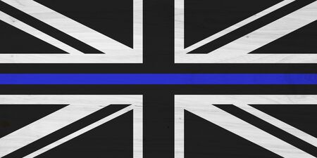 British thin blue line flag with wood texture for a law enforcement background Reklamní fotografie