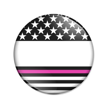 American thin pink line badge button that is blank for your message isolated over white