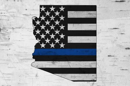 American thin blue line flag on map of Arizona for your support of police officers