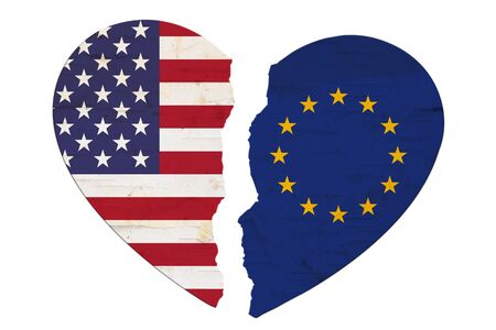 American and EU flags in a broken heart isolated over white Reklamní fotografie