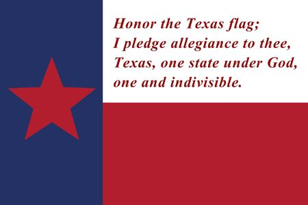 Pledge of allegiance to the Texas state flag red, white and blue with star