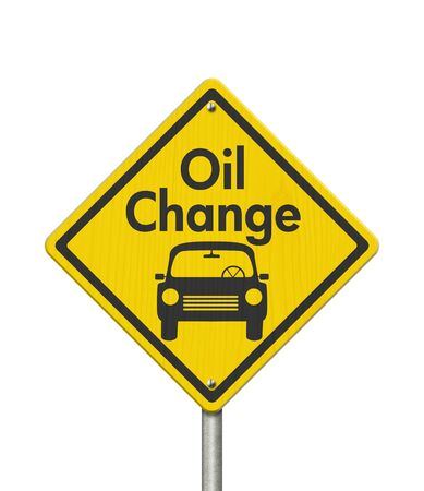 Oil change with car on yellow warning highway road sign isolated over white