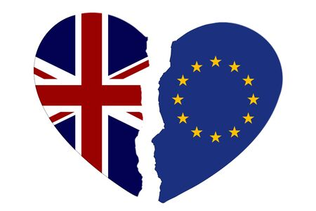 British and EU flags in a broken heart brexit isolated over white