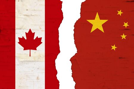 Canadian and Chinese flags that are torn apart showing the bad relationship between the two countries