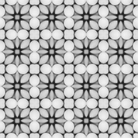 Gray flower mosaic detailed seamless and repeat textured pattern background