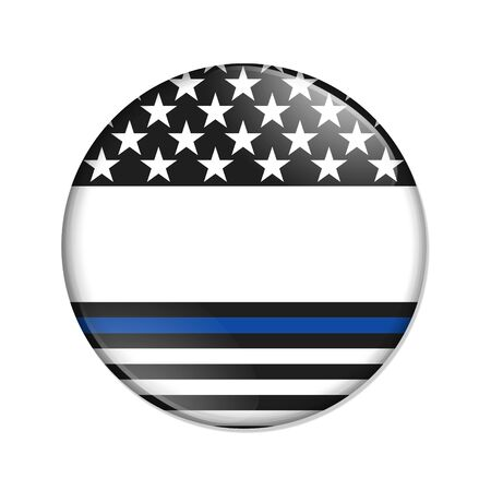 American thin blue line badge button that is blank for your message isolated over white