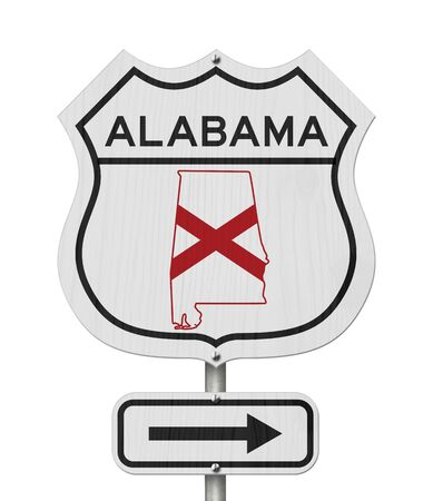 Alabama map and state flag on a USA highway road sign isolated over white Imagens