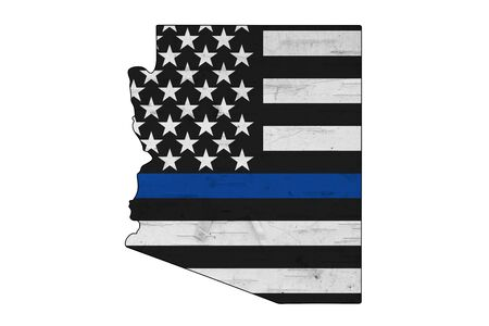American thin blue line flag on map of Arizona for your support of police officers isolated over white