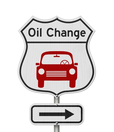 Oil change with car route 66 USA highway road sign isolated over white Stockfoto