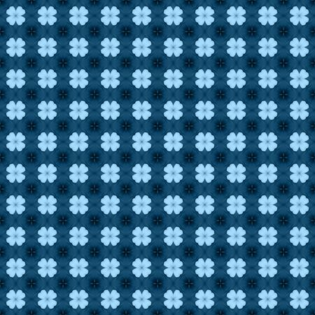 Blue flower mosaic detailed seamless and repeat textured pattern background