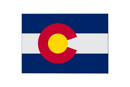 Map of Colorado in the Colorado flag colors isolated over white 스톡 콘텐츠