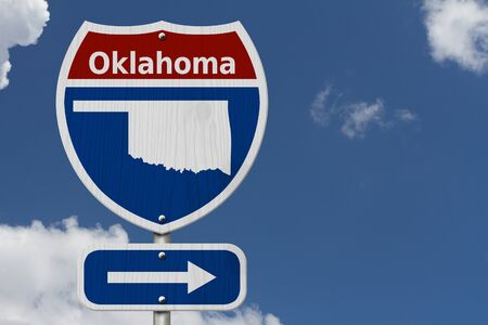 Road trip to Oklahoma, Red, white and blue interstate highway road sign with word Oklahoma and map of Oklahoma with sky background