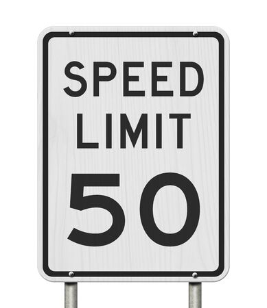 US 50 mph Speed Limit sign isolated over white