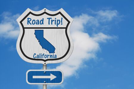 California Road Trip Highway Sign, California map and text Road Trip on a highway sign with sky background Banco de Imagens