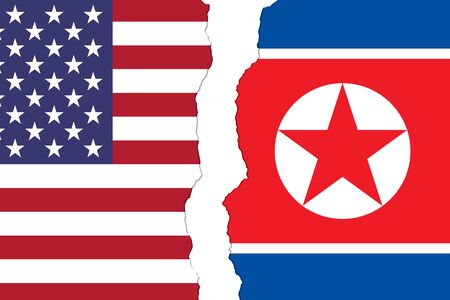USA and North Korea flags that are torn apart showing the bad relationship between the two countries