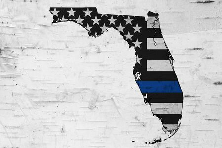 American thin blue line flag on map of Florida for your support of police officers
