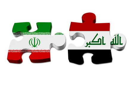 Iran and Iraq working together, The Iranian flag and Iraqi flag on two puzzle pieces isolated over white 스톡 콘텐츠