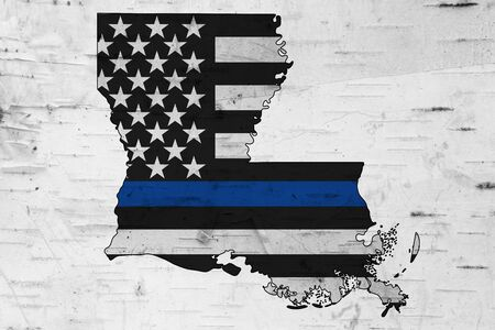 American thin blue line flag on map of Louisiana for your support of police officers Фото со стока
