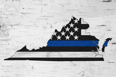 American thin blue line flag on map of Virginia for your support of police officers Фото со стока
