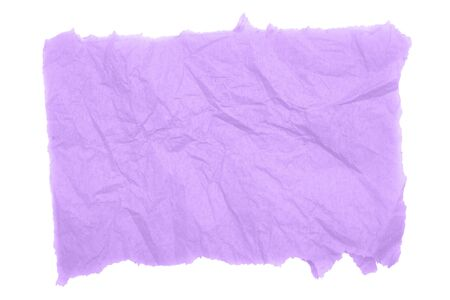 Purple textured wrinkled torn rectangle paper banner or background isolated over white Stockfoto