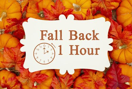 Fall Back 1 hour time change message on a metal sign on pumpkins and a straw hay