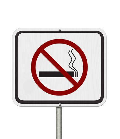 No smoking white road sign with a cigarette and smoke icon isolated over white Фото со стока