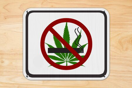 No smoking weed white sign with a joint and leaf icon isolated on  wood wall