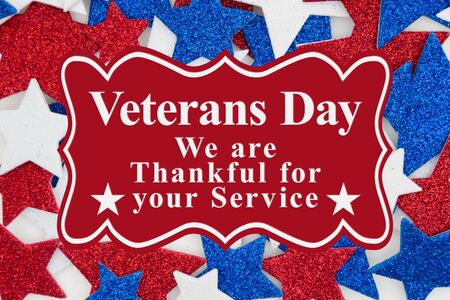 Veterans Day thank you for your service message with red, white and blue glitter stars