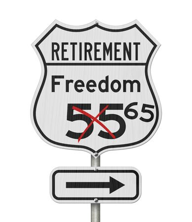 Retirement with Freedom 65 plan route on a USA highway road sign isolated over white Stock Photo