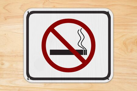 No smoking white road sign with a cigarette and smoke icon isolated on wood wall