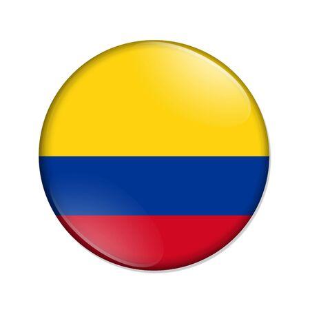 Kolumbien-Land auf einer Flaggen-Abzeichen-Schaltfläche isoliert über weiß