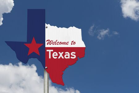 Welcome to the state of Texas road sign in the shape of the state map with the flag with sky