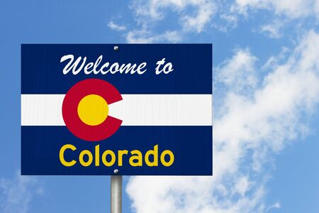 Welcome to the state of Colorado road sign in the shape of the state map with the flag with sky