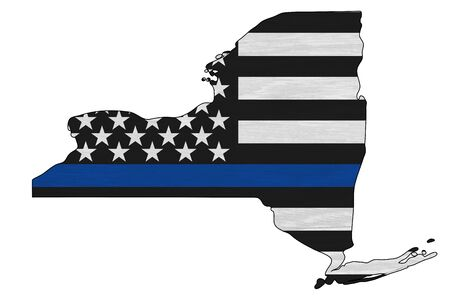 American thin blue line flag on map of New York for your support of police officers Reklamní fotografie