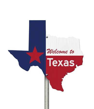 Welcome to the state of Texas road sign in the shape of the state map with the flag isolated over white Stock Photo