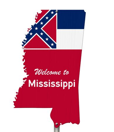 Welcome to the state of Mississippi road sign in the shape of the state map with the flag isolated over white 版權商用圖片 - 139799067