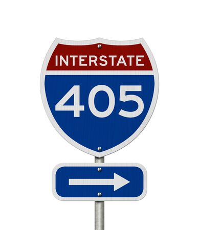 I-405 interstate USA red and blue highway road sign isolated over white