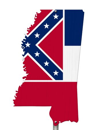 State of Mississippi road sign in the shape of the state map with the flag isolated over white