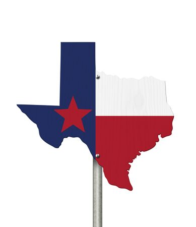 State of Texas road sign in the shape of the state map with the flag isolated over white Stock Photo